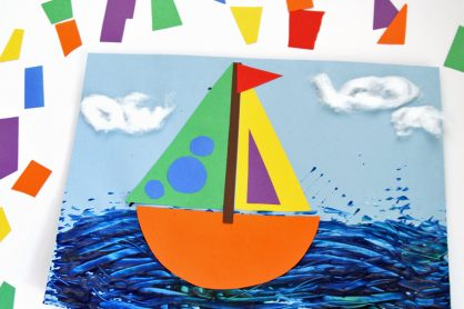 Rainbow Sailboat Collage Art Project