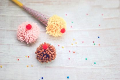 Ice Cream Yarn Pom Pom Pencil Topper