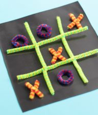 Magnetic Pipe Cleaner Tic Tac Toe game