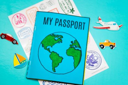 Here's a very special Mini Passport Book, which you can print out and assemble with the kids for your learning journey when you travel!