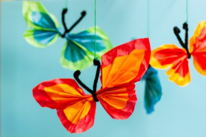 This Tissue Paper Butterfly Mobile Craft is a beautiful decoration for summer or spring. Fun to do with kids & just needs some tissue paper & pipe cleaners!