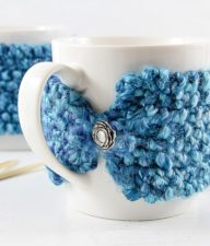 free knit coffee cozy pattern