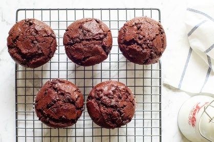 Delish Nutella Stuffed Double Chocolate Muffins