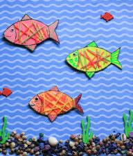 Yarn Wrapped Cardboard Fish