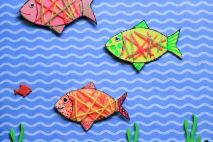 Yarn Wrapped Cardboard Fish