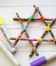 Forage around your backyard for fallen twigs to create a decorative Washi Tape and Twig Star. Just carry Tape and you are all set for a fun nature craft!