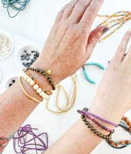 handmade beaded and suede layered bracelets for stacking