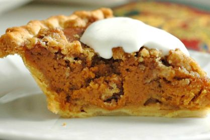 Caramel Pumpkin Pie with Pecan Streusel Recipe