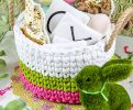 make an easter basket out of tshirt yarn