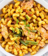 cellentani pasta with salmon and beans