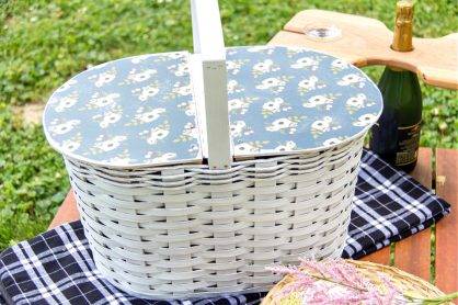 a diy picnic basket made from wood and an ordinary basket