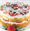 angel food cake decorated with berries and coconut for the 4th of July