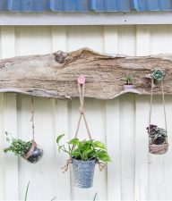 handmade driftwood hanging planter