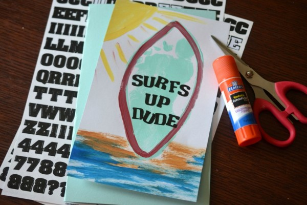 Footprint Surf Board Keepsake Card