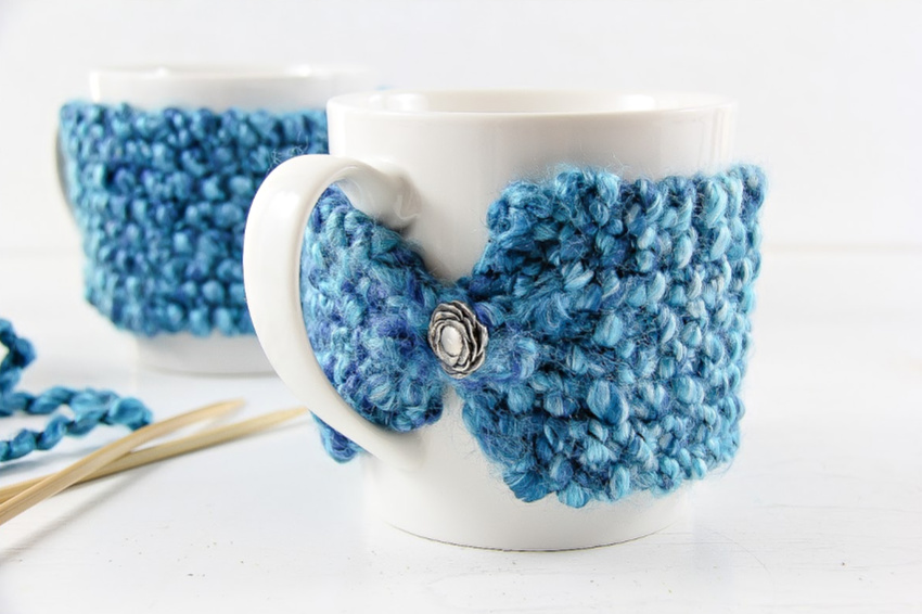 How To Knit A Coffee Mug Cozy Make And Takes