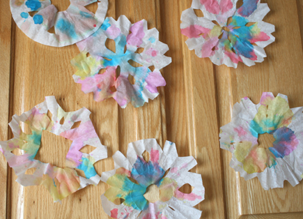 Coloring Coffee Filter Snowflakes