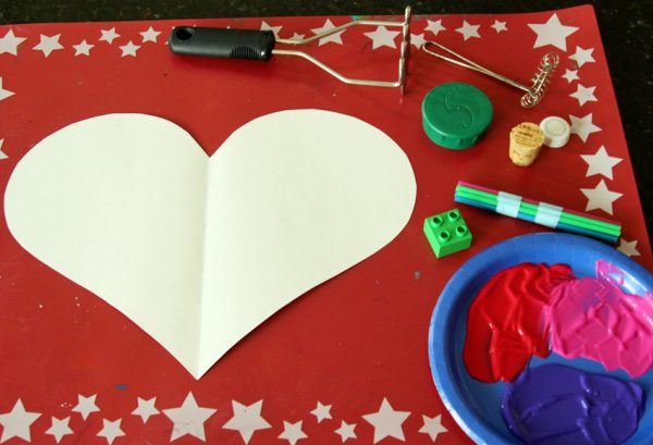 Valentine printing with household tools and toys