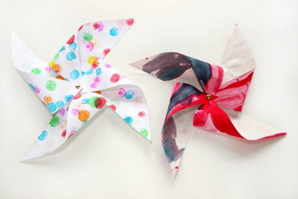 Garden Pinwheel Craft for Kids! Easy DIY Garden decor craft made from recycled artwork!