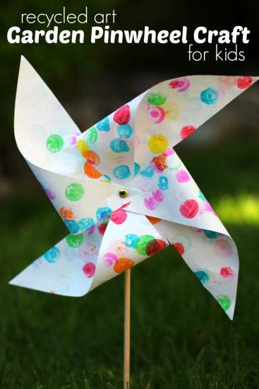 Garden Pinwheel Craft for Kids from Recycled Artwork
