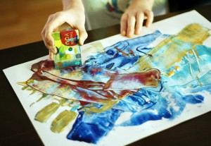 Painting with plastic credit cards or gift cards