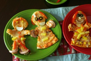 Gingerbread boy and girl pizzas