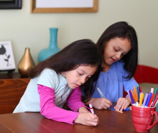 girls coloring sticks