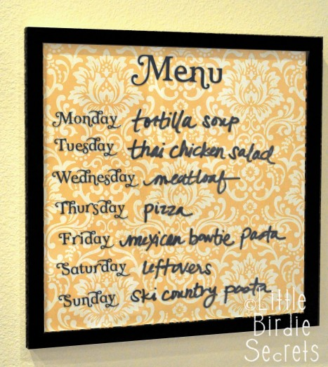 DIY Wipe Off Weekly Menu