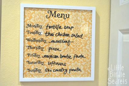 Wipe Off Weekly Menu Board DIY