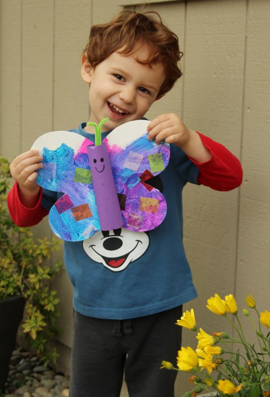 Sparkly painted butterfly project for kids
