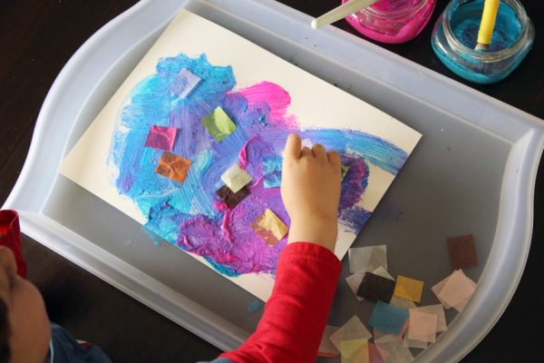 Adding tissue paper to wet paint