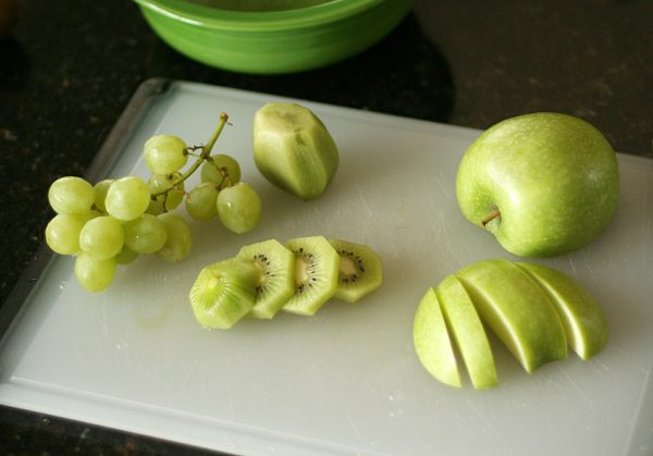 Prepping for green fruit salad