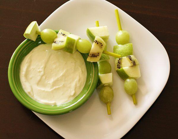 Green fruit skewers with lime yogurt dip