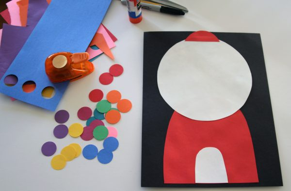 Craft a fun gumball machine - perfect cut and paste activity for little kids!