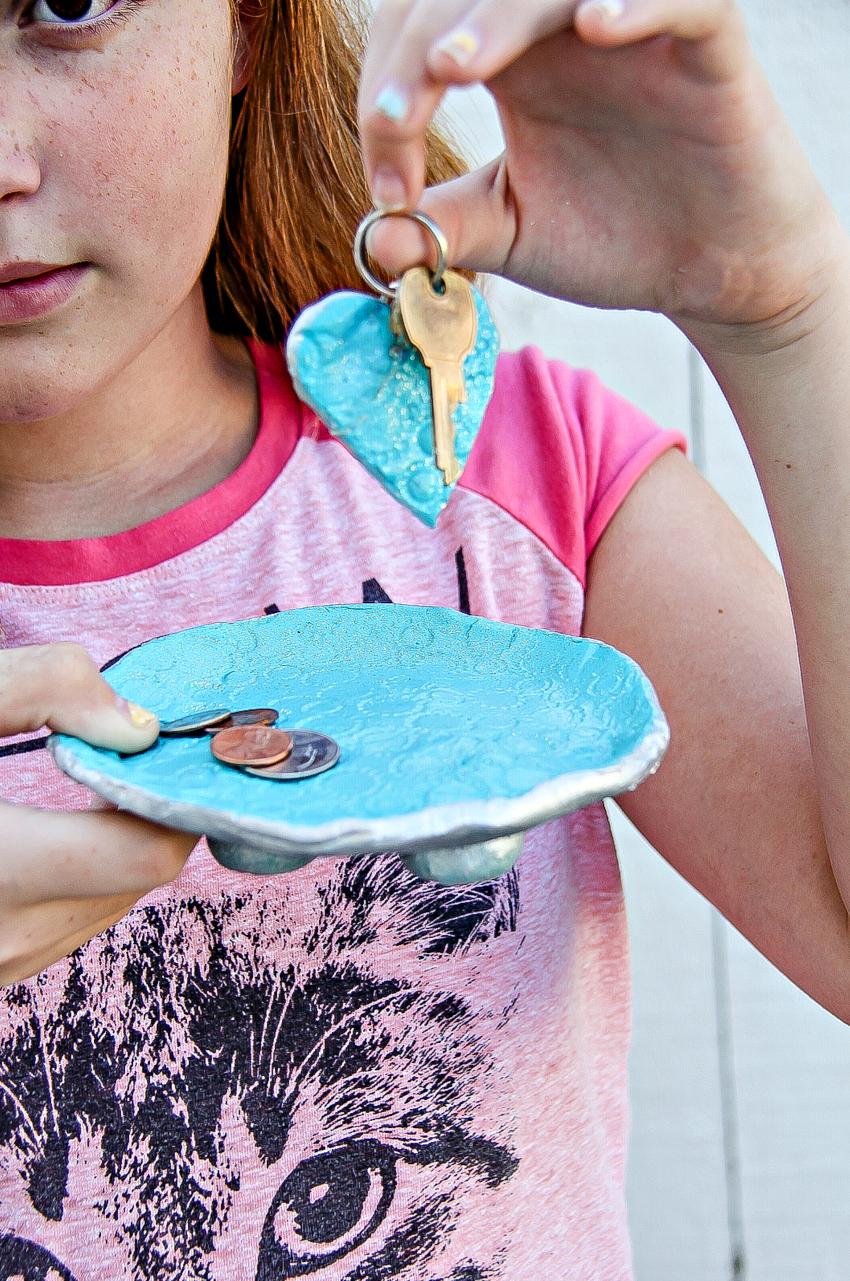 Air Dry Clay Dish and DIY keychain