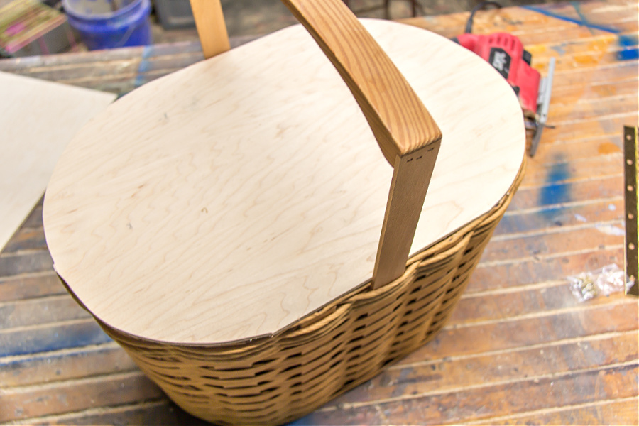 a plywood lid made for a picnic basket