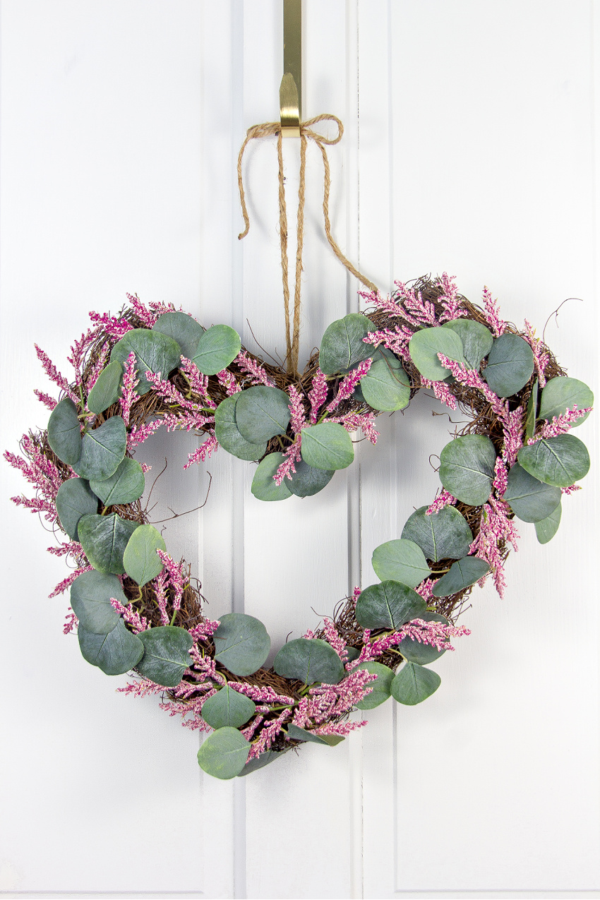 pink and eucalyptus heart shaped wreath