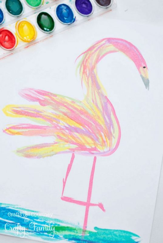 Watercolor Handprint Flamingo Craft