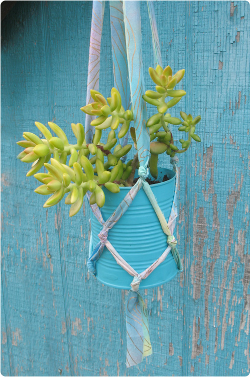 Plant Hanger From Fabric Strips