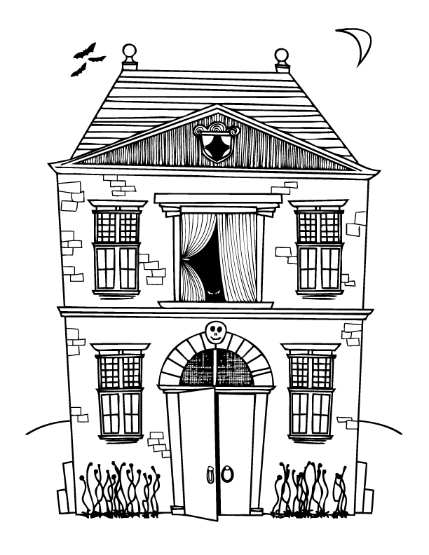 Halloween coloring pages make and takes for Coloring pages of haunted houses