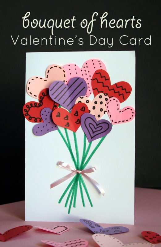 bouquet of hearts card for valentine s day make and takes