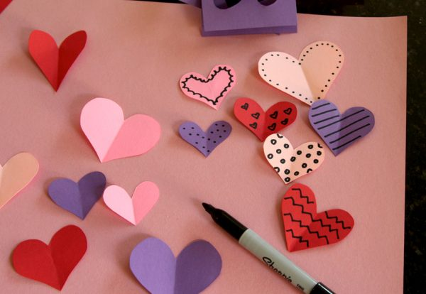 Doodling on paper Valentine hearts