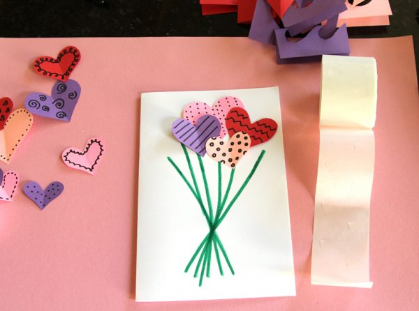 Crafting a heart bouquet card