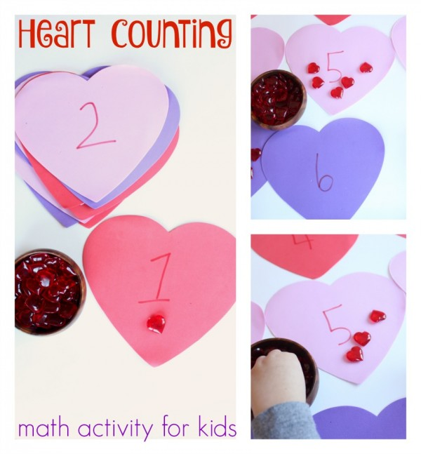 heart counting math activity for kids