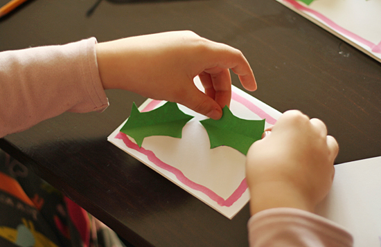 Paper holly leaves card