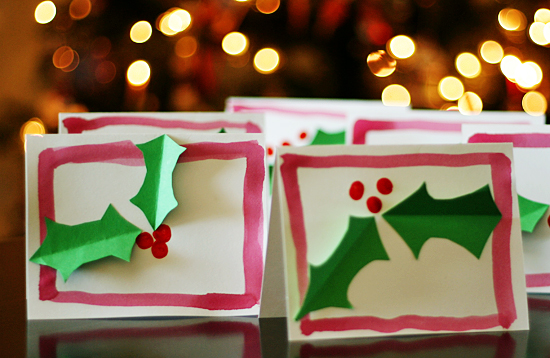 Holly Card Christmas Craft for kids @makeandtakes.com