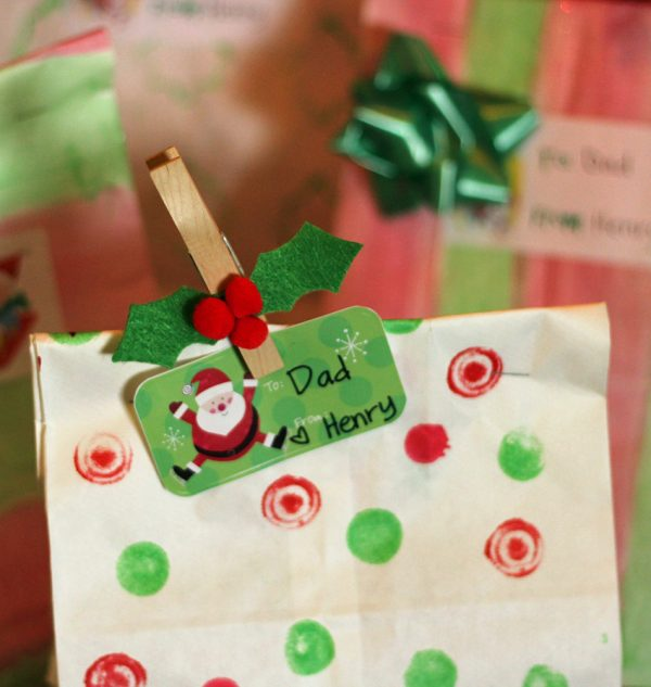 Holly clothespin gift bag topper