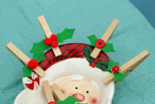 Holly clothespins for gift toppers