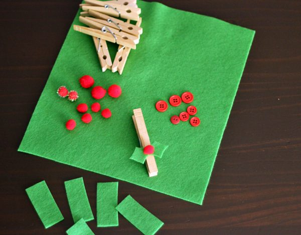 Holly clothespin supplies
