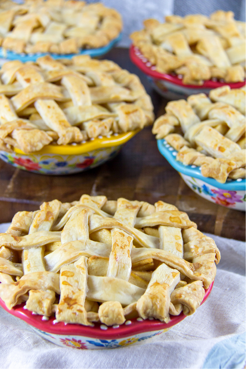 mini apple pies made in pioneer woman pie dishes