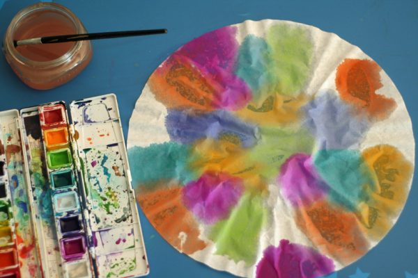 Watercolors and coffee filter painting